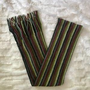 Striped Green, Burgundy, & Gray Skinny Scarf